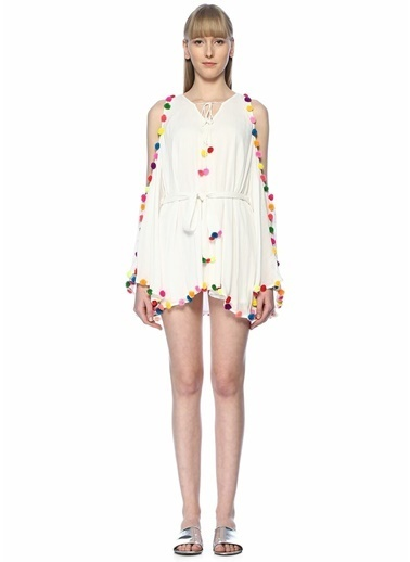 Sundress Kayık Yaka Omzu Açık Mini Elbise Beyaz